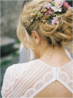 bridal hair up with flowers Images by Alexander J Collins