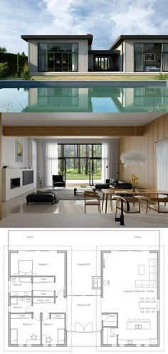 House Design - Modern House Plan, Modern Architecture, New Home - New House Plans, Modern House Plans, Small House Plans, Modern House Design, House Floor Plans, Modern Architecture House, Architecture Plan, Home Gym Decor, Bedroom House Plans