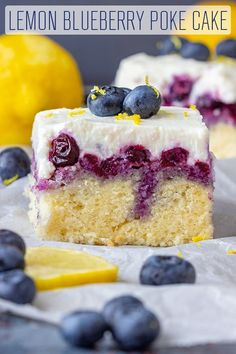 This is a recipe for Lemon Blueberry Poke cake from scratch. Moist and soft sponge, blueberry sauce and creamy ricotta icing with a hint of lemon. This is a recipe for Lemon Blueberry Poke cake from scratch. Moist and soft sponge, blueberry sauce and cr Poke Cakes, Poke Cake Recipes, Cake Recipes From Scratch, Layer Cakes, Blueberry Sauce, Blueberry Recipes, Lemon Recipes, Sweet Recipes, Baking Recipes