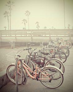 Beach Bikes Bicycles Fine Art Photography pink grey sunset