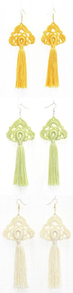 Tassel earrings Crochet jewelry Long dangling earrings Yellow Lime green Cream white Hippie Boho chic Bohemian wedding bridesmaid gifts