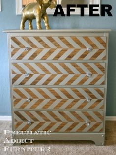 pewter herringbone dresser makeover