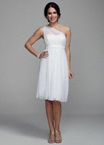 You'll look like a Grecian Goddess in this beautiful wedding dress!  One shoulder illusion bodice with ultra-feminine sweetheart neckline.  Empire waist flows into full skirtwhich gives this dress a whimsical feel.  Fully lined. Back zip. Imported. Dry clean only.  To protect your dress, try our Non Woven Garment Bag.