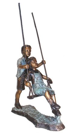 Boy and Girl on Swing Bronze Garden Statue. Available at AllSculptures.com
