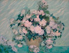 Roses by Vincent van Gogh. Vincent van Gogh painted Roses as part of his healing process while at the asylum at Saint–Rémy. Roses is recognized as one of Van Gogh's most beautiful still lifes. Art Van, Art Floral, Floral Style, Flores Van Gogh, Van Gogh Still Life, Van Gogh Arte, Van Gogh Pinturas, Vincent Willem Van Gogh, Oil On Canvas