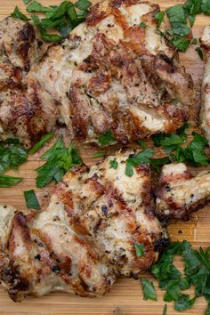 Mediterranean marinated grilled chicken - infused with olive oil, lemon zest, garlic, Dijon and herbs - is a go-to in ou Marinated Chicken Thighs, Marinated Grilled Chicken, Grilled Chicken Recipes, Grilling Recipes, Meat Recipes, Cooking Recipes, Healthy Recipes, Bbq Meals, Olives