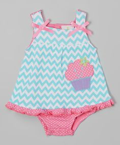 Look at this Duck Duck Goose Teal Chevron Cupcake Skirted Bodysuit on #zulily today!