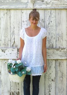 Eyelet Spy Something White upcycled tunic summer shirt eco friendly ruffled eyelet top romantic boho