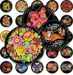 Russian Folk Art flowers birds animals Circles Digital Collage Sheet 2.25 inch. Printable round images for pocket mirror cabochon 074