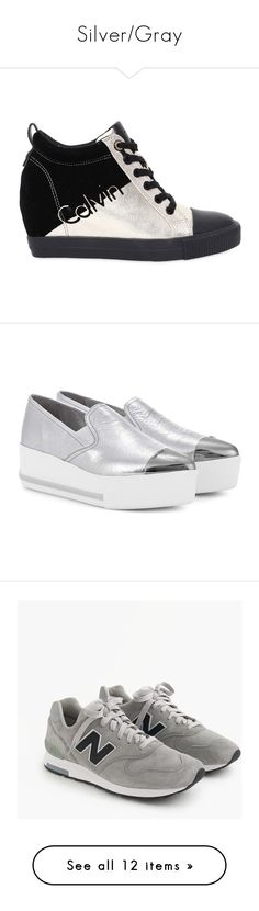 """""""Silver/Gray"""" by miss-amazing-grace ❤ liked on Polyvore featuring shoes, sneakers, canvas trainers, platform sneakers, canvas shoes, platform canvas shoes, metallic shoes, silver, leather platform sneakers and platform shoes"""