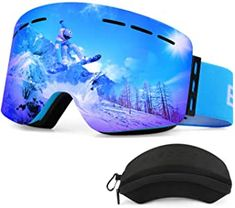 ELECOOL Ski Goggles PRO,Snowboard Snow Goggles Frameless, Interchangeable,Magnet Dual Layers Lens Cylindrical Design Anti-Fog UV Protection Anti-Slip Strap Skiing Goggles for Men Women Youth Best Ski Goggles, Snowboard Goggles, Ski And Snowboard, Snowboarding, Skiing, Best Skis, Bicycle Helmet, Layers, Youth