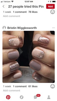 Neutral nails with glitter
