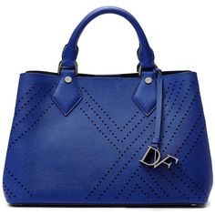 DVF Voyage On-the-go Small Tote (235 AUD) ❤ liked on Polyvore featuring bags, handbags, tote bags, bags/purses, lapis shock, pocket tote, blue tote bag, handbags purses, blue tote handbags and perforated tote