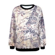 Women Middle Earth Map Long Sleeve Sweatshirt