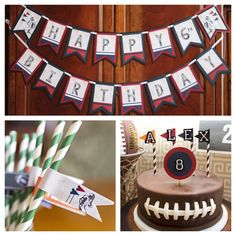 Vintage Football (or other sports) Party-In-A-Box by Charming Touch Parties.  Banner, straw flags and cake topper.  Customizable. by CharmingTouchParties on Etsy