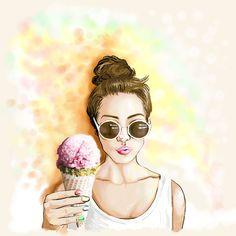 Ice Cream Beach Girl (2016) illustration by Shom Teoh
