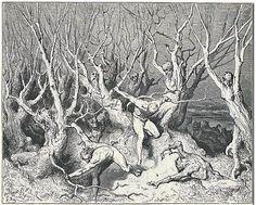 gravure enfer des suicidés de Dante Gustave Doré XIXe