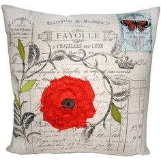 French Document Pillow with Spice Applique Flower by Layla Grayce $173