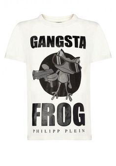 Philipp Plein - 'Gangsta Frog' T-Shirt White | Funny tee with gangsta frog print. Wear this piece with jeans and a leather jacket. This piece perfectly matches comfort and glamour.