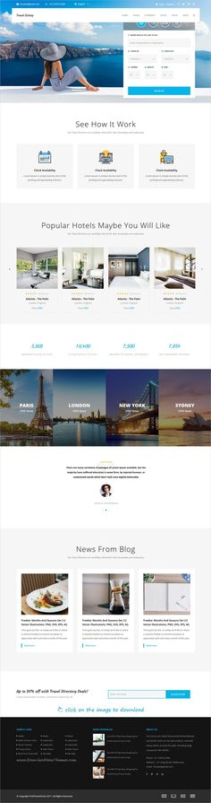 Travel Listing is clean and modern design 8in1 responsive HTML5 template for #travel and #hotel directory #listing website to live preview & download  click on the image.