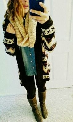 Ladies over sized tribal cardigan sweater fashion with big scarf | Fashion World