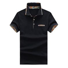 dbcb129613 Mens Stylish Printed Short Sleeve Tops Breathable Spring Summer Business  Casual Polo Shirt