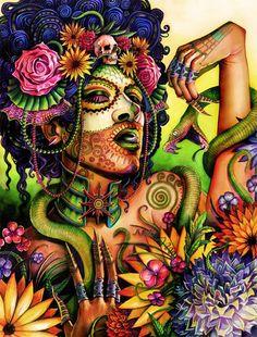 En el poco tiempo que llevo investigando sobre la mitología azteca debo decir que una de las cosas mas sorprendentes es cuanto ha influenciado su legado en el arte. Aquí podemos ver a Mictecacihuatl la diosa azteca encargada del noveno piso del inframundo.