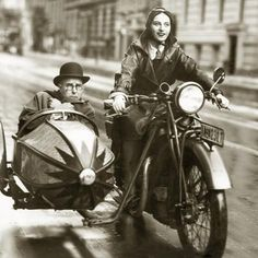 Vintage Motorcycles Classic Wilhelm Bendow in a Sidecar, - Cafe Racer Girl, Cafe Racer Build, Scrambler Motorcycle, Motorcycle Style, Motorcycle Girls, Motorcycle Helmet, Motorcycle Design, Triumph Cafe Racer, Ride Out