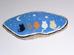 Galet déco chats nuit peinture acrylique fait main unique : Accessoires de maison par recycl-art-by-nathr