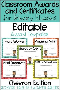 These end of the year awards are perfect to recognize your students for their unique talents and abilities! These awards are EDITABLE and feature a Chevron background. Perfect for Primary Students and Elementary Students in Kindergarten, First Grade, Seco