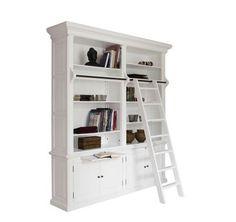bibliothek buecherschrank in weiss mit leiter 300 cm zerlegbar shabby chic regal ideas for a. Black Bedroom Furniture Sets. Home Design Ideas