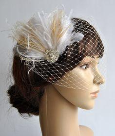 1920s Rhinestone head piece  Bridal Ivory by BlueSkyHorizons