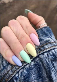 latest acrylic nail designs for summer 2019 page 53 - rainbow-nails - Uñas Stylish Nails, Trendy Nails, Casual Nails, Classy Nails, Multicolored Nails, Colorful Nails, Aycrlic Nails, Manicure, Coffin Nails