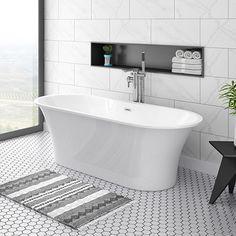 Alps 1660 x 735 Modern Roll Top Bath Bathroom Tile Designs, Bathroom Design Small, Bath Design, Bathroom Ideas, Bathroom Tiling, Bathroom Gallery, Bathroom Photos, Wood Bathroom, Bathroom Layout