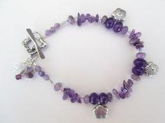 Amethyst Chip Artisan Flower Dangle 925 Silver Toggle Bracelet Designed by Blue Tortue