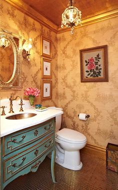 Inspired by the powder room at Bemelmans Bar in Manhattan's Carlyle hotel. Osborne & Little's gold chinoiserie wallpaper, penny tile floor. by Berkley Vallone of Vallone Design. Bad Inspiration, Bathroom Inspiration, Home Design, Interior Design, Design Ideas, Interior Modern, Romantic Room, Enchanted Home, Beautiful Bathrooms