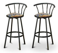 "2 African - Serengeti Specialty / Custom Black Barstools with Backrest Set by The Furniture Cove. $145.87. Black Metal Finish. Set of 2 Bar Stools. These are new, 24"" Black bar stools with footrests and swivel seats with a backrest! These Feature an African Serengeti fabric seats that are cool and unique. The pads are 14"" across and the seat is 24"" tall. The entire height is 35"". The sides of the seat have nice metal work and there are feet protectors on the bottom of each leg. ..."