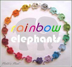 Natas Nest: Rainbow Elephants - Crochet Appliqué / Regenbogen-Elefanten – Häkel-Applikation