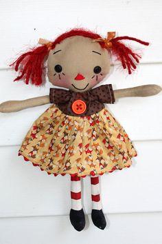 Foxy Annie  Primitive Raggedy Ann Doll by HeartstringAnnie on Etsy, $18.00