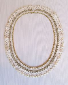 Off white gold crocheted collar chain necklace gold by LadyLina,