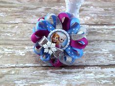 Blue Silver Fuchsia Ice Princess  Loopy Flower Bow Hair Clip Bottle Cap Hair Bow