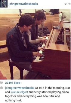 From John Green's Instagram. Ansel and Nat started playing the piano together in the wee hours of the morning. Awwww, it looks like they're becoming friends just like Augustus and Isaac. (= BUT HOLD UP A SEC. Is that a church they're filming in?! Don't tell me they're filming that super depressing scene with Hazel, Gus, and Isaac! My feels can't handle that. )=