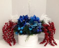 "My ""American Northern Crab in Red, White and Blue"" Holiday 2013 Saddle Centerpiece. Faux Floral Design and arrangement ROCKS!! By http://nfmdesign.synthasite.com/"