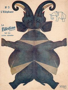 "bledine elephant by pilllpat (agence eureka), via Flickr. Advertising folding-cutting offered by ""The Blédine"""