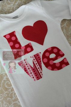 Baby Girl Valentines Day bodysuit embellished with hand cut and sewn applique. Precious for your little Love! Listing Includes: - Bodysuit only **Leg warmers and bow listed separately in the shop. When will this ship? How do the sizes run? Check the FAQs -