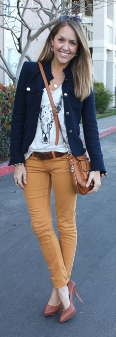 Wearing a graphic tee with a navy blazer & colored pants. Have navy blazer. Have graphic tee. Need fun colored pants.