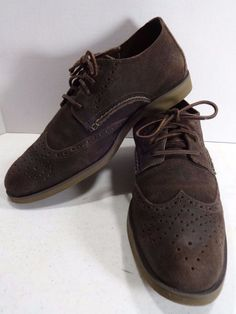 SPERRY TOP SIDER Size 11.5M Brown Leather Suede Casual Wing Tip Oxfords 0297440 #SperryTopSider #CasuaslWingTipOxfords