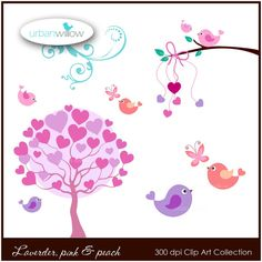 INSTANT DOWNLOAD  Lavender pink & peach love birds  by urbanwillow, $4.95