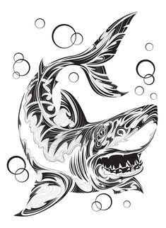 Draw Sharks Shark by Andrey Kopyrin, via Behance - Art Drawings Sketches, Animal Drawings, Tattoo Drawings, Shark Silhouette, Silhouette Tattoos, Great White Shark Drawing, Hammerhead Shark Tattoo, Transférer Des Photos, Tattoo No Peito