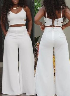 Sexy V Neck Spaghetti Strap Sleeveless Hollow-out White Spandex Two-piece  Pants Set on Luulla 160c24907